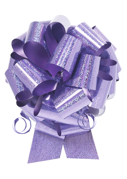 """Photo of 8"""" Holographic Lavender Pull Bow"""