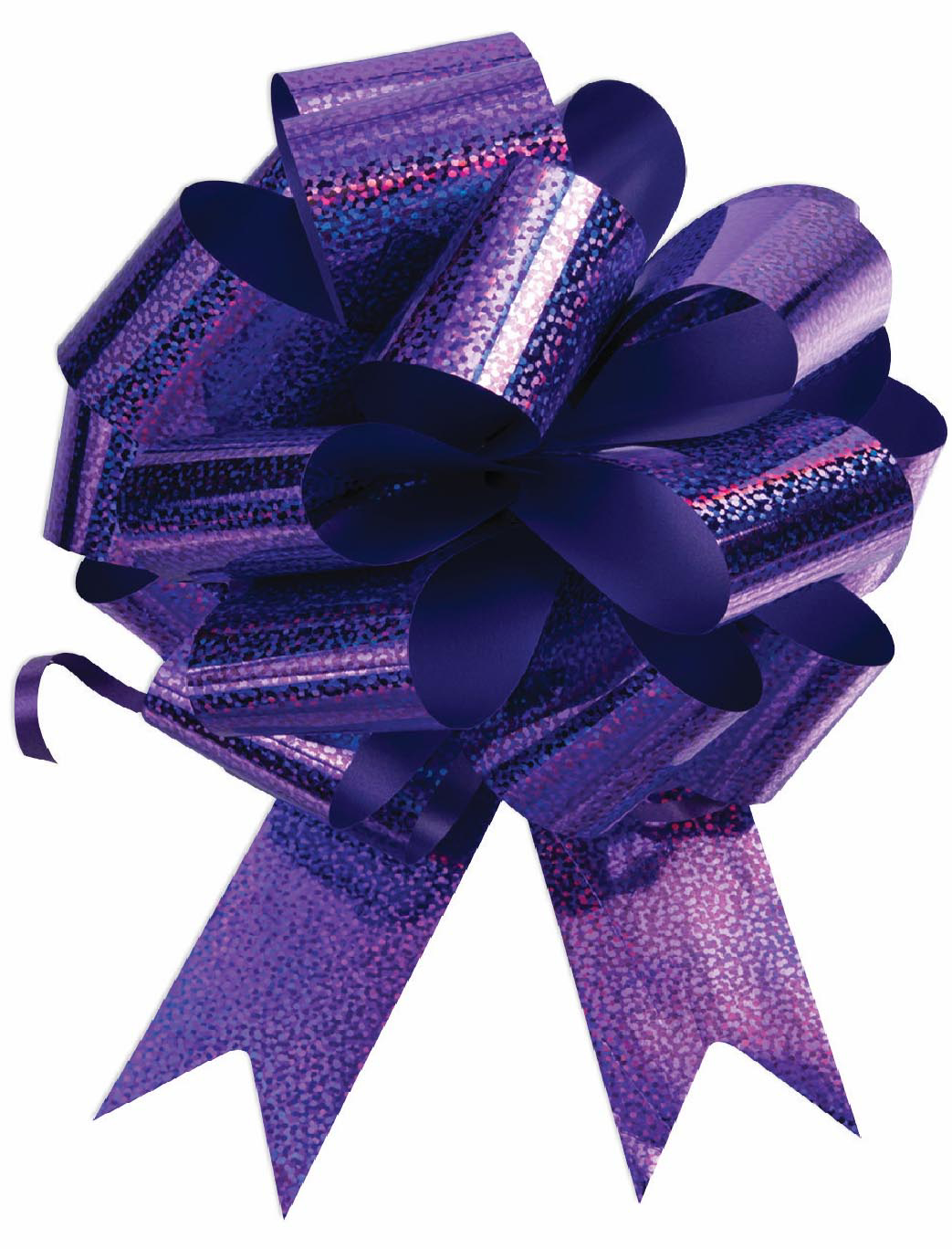 """Photo of 8"""" Holographic Purple Pull Bow"""